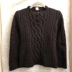 J Crew Dark Brown Lambswool Sweater